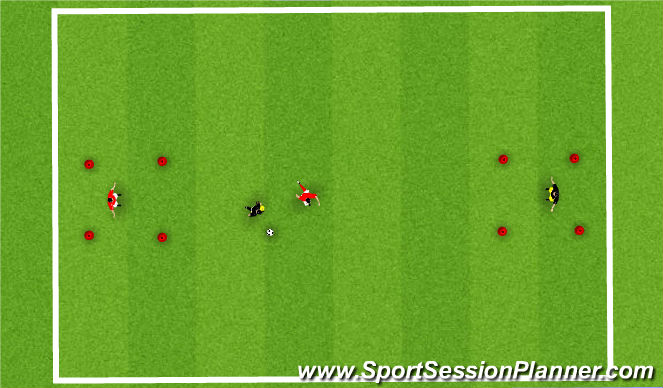 Football/Soccer Session Plan Drill (Colour): 1 v 1 Continuous