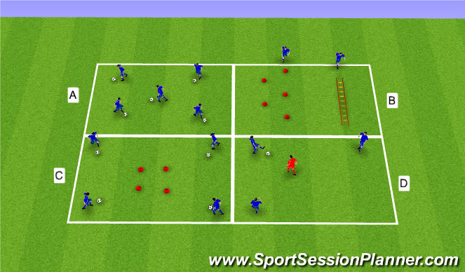 Football/Soccer Session Plan Drill (Colour): U11/12 Warm-up