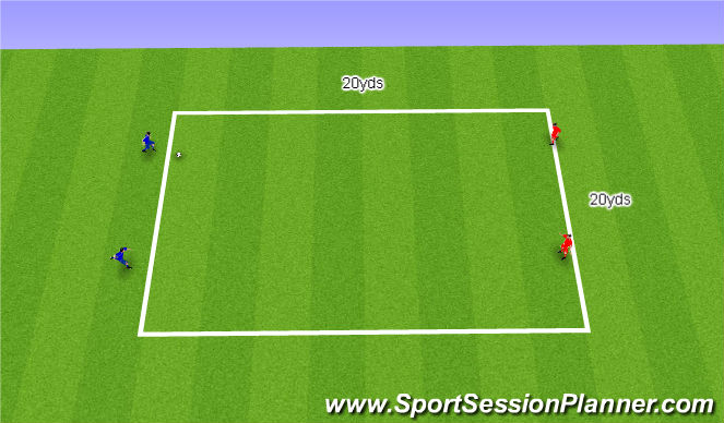 Football/Soccer Session Plan Drill (Colour): 2v2 Pressure / Cover