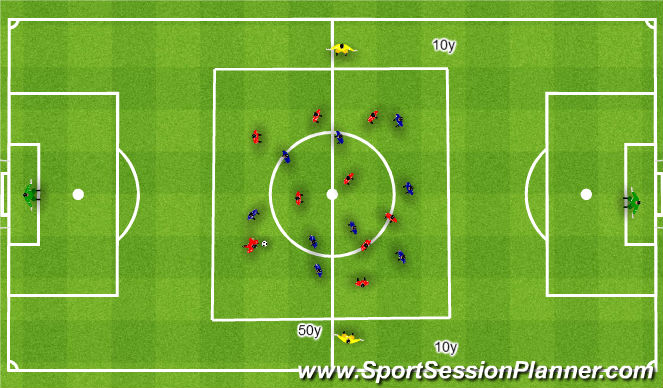 Football/Soccer Session Plan Drill (Colour): Attacking favourable zones 9v9+2. Atakowanie korzystnych stref 9v9+2.