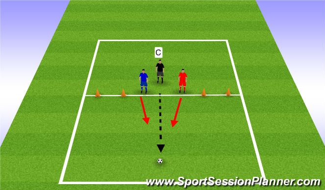 Football/Soccer Session Plan Drill (Colour): 1v1 Challenge