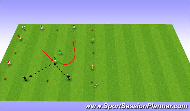 Football/Soccer Session Plan Drill (Colour): Angled Passing with passive pressure