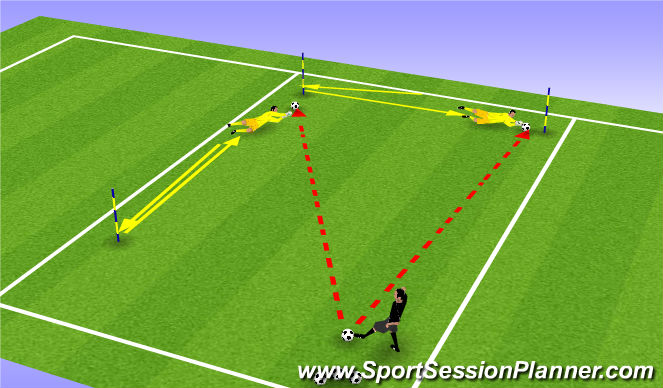 Football/Soccer Session Plan Drill (Colour): Footwork & Diving