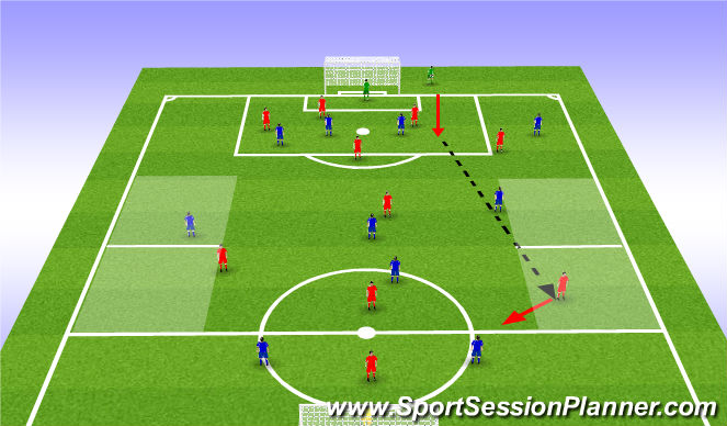 Football/Soccer Session Plan Drill (Colour): 11v11 Phase 2