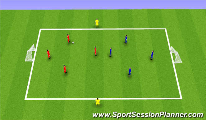 Football/Soccer Session Plan Drill (Colour): 4v4 plus bumpers