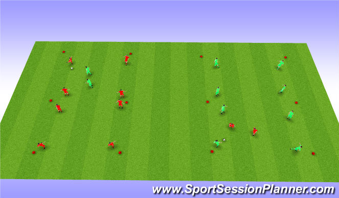 Football/Soccer Session Plan Drill (Colour): 2 x Rondo Rectangles