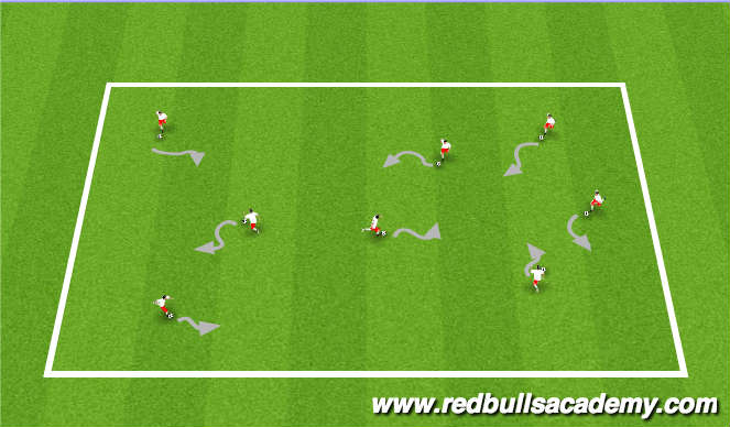Football/Soccer Session Plan Drill (Colour): Warm Up - Dynamics & Ball Mastery