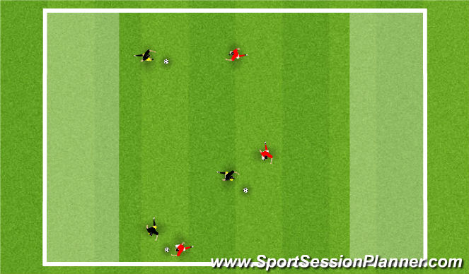 Football/Soccer Session Plan Drill (Colour): 1 v 1 to End Zone