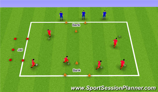 Football/Soccer Session Plan Drill (Colour): Cops and Robbers