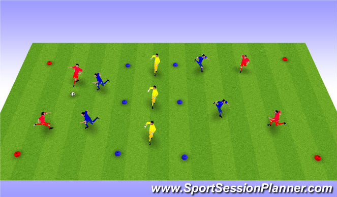 Football/Soccer Session Plan Drill (Colour): Transition 1v1 2v2