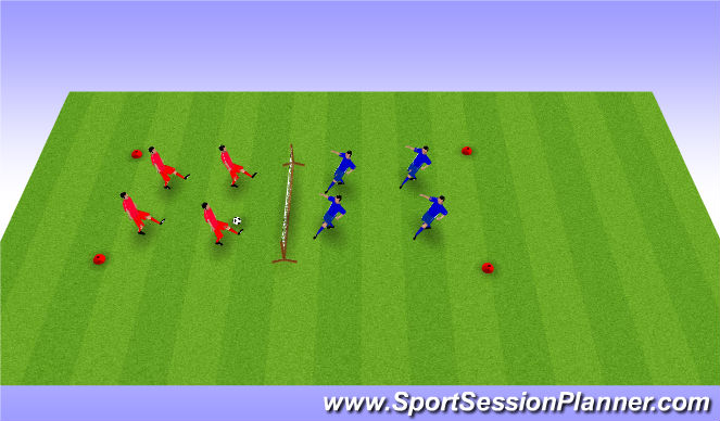 Football/Soccer Session Plan Drill (Colour): Footie Volley ball