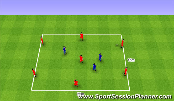 Football/Soccer Session Plan Drill (Colour): Rondo 7v3. Dziadek 7v3.