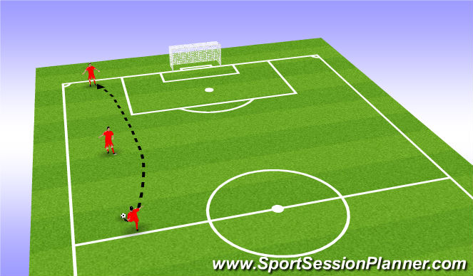 Football/Soccer Session Plan Drill (Colour): Lofted Passes Intro P1