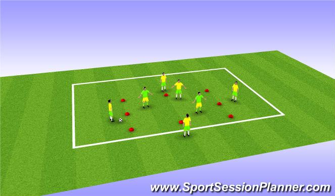 Football/Soccer Session Plan Drill (Colour): 5 v 2