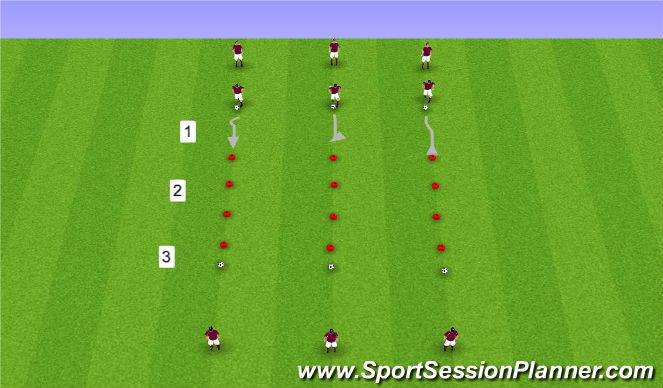 Football/Soccer Session Plan Drill (Colour): Warm-Up: SAQ and Ball Mastery