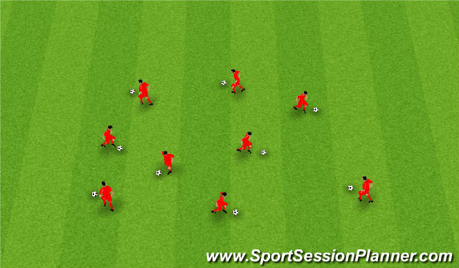 Football/Soccer Session Plan Drill (Colour): Juggle/Dribble/Dynamic Stretch