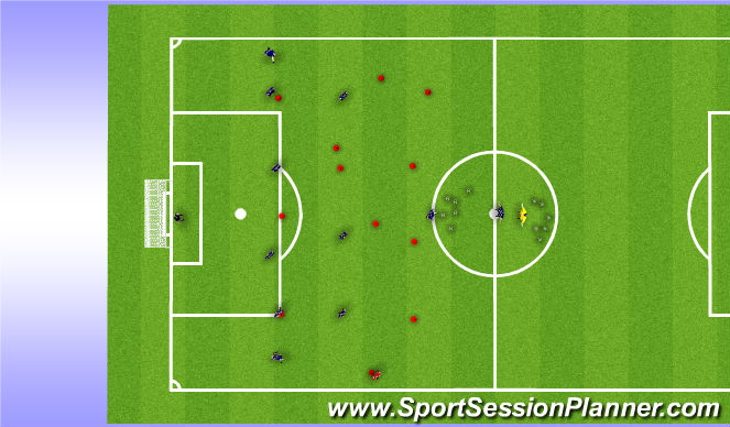 Football/Soccer Session Plan Drill (Colour): Team movement