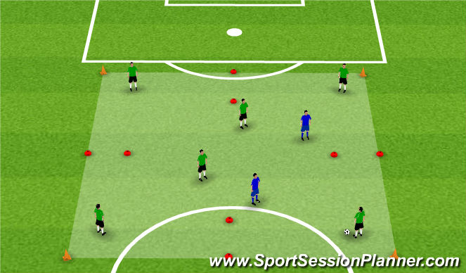 Football/Soccer Session Plan Drill (Colour): Activity 1: 6v2 Through Gates