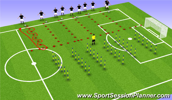 Football/Soccer Session Plan Drill (Colour): Through cones