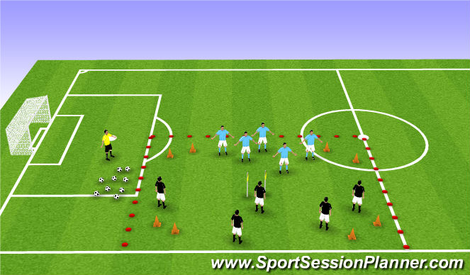 Football/Soccer Session Plan Drill (Colour): Dribbling through Gates