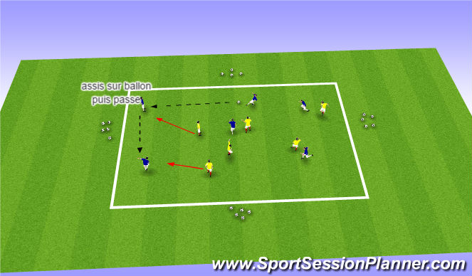 Football/Soccer Session Plan Drill (Colour): La balle assise