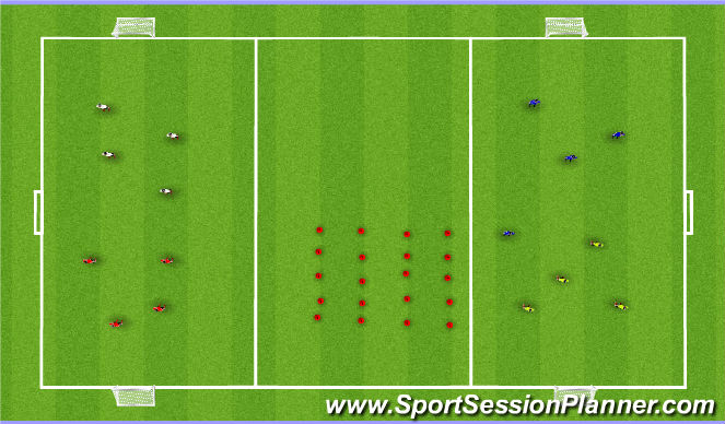 Football/Soccer Session Plan Drill (Colour): 4v4 small side