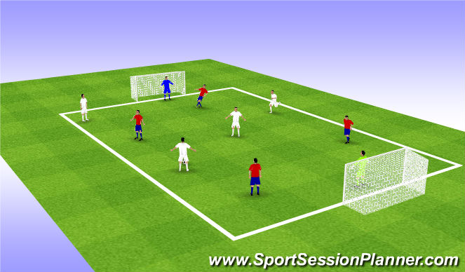 Football/Soccer Session Plan Drill (Colour): Free Play 4v4-7v7
