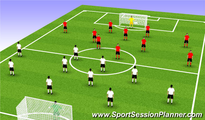Football/Soccer Session Plan Drill (Colour): Play 18 to 18