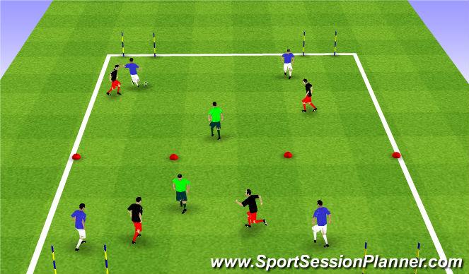 Football/Soccer Session Plan Drill (Colour): 2 vs. 2 + 1 vs. 2 vs. 2 + 1