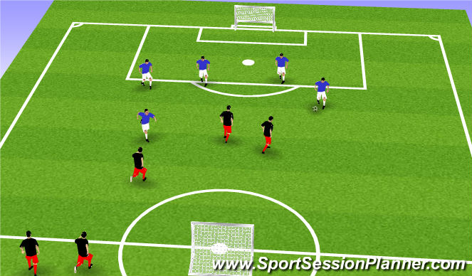 Football/Soccer Session Plan Drill (Colour): 5 vs. 5 - 2