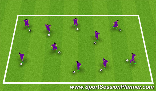 Football/Soccer Session Plan Drill (Colour): Warm Up - Ball Manipuation