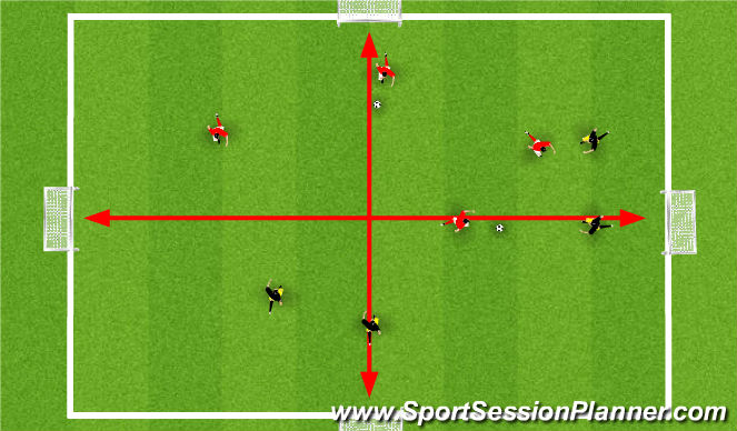 Football/Soccer Session Plan Drill (Colour): 2 v 2 Simultaneous
