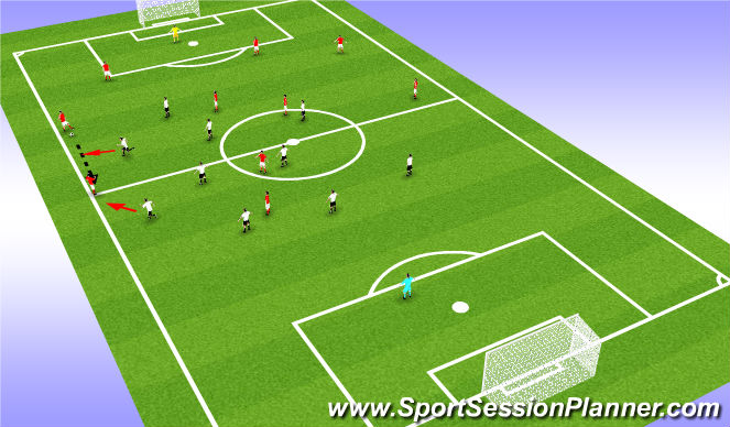 Football/Soccer Session Plan Drill (Colour): Team shape in relation to the ball