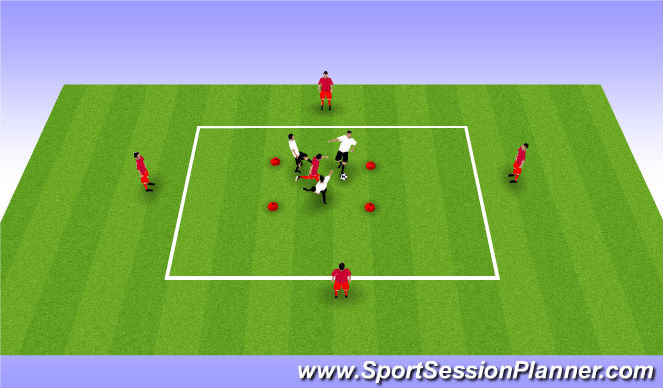 Football/Soccer Session Plan Drill (Colour): BU11 SSG 3v1 and 5v3