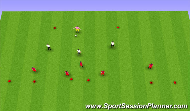 Football/Soccer Session Plan Drill (Colour): Defending 3v5