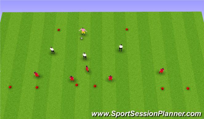 Football/Soccer Session Plan Drill (Colour): Defending 3v5