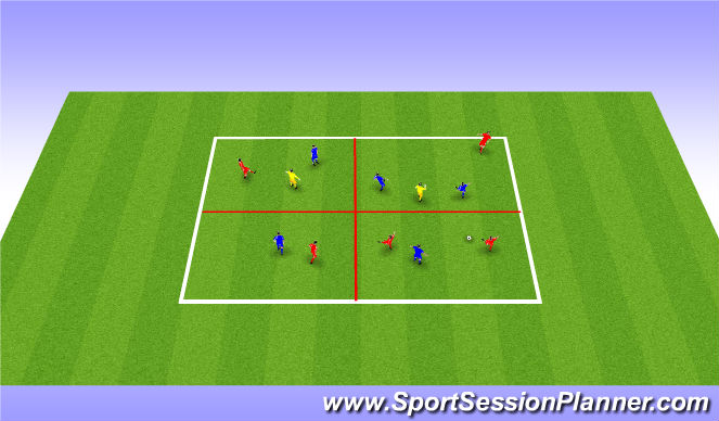 Football/Soccer Session Plan Drill (Colour): 5 v 5 +2  in 4 quadrants