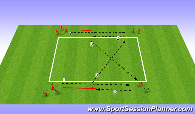 Football/Soccer Session Plan Drill (Colour): Long / Short / Across