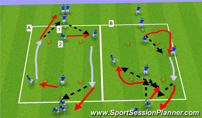 Football/Soccer Session Plan Drill (Colour): Warm-up: Peeling Off and Bending Runs
