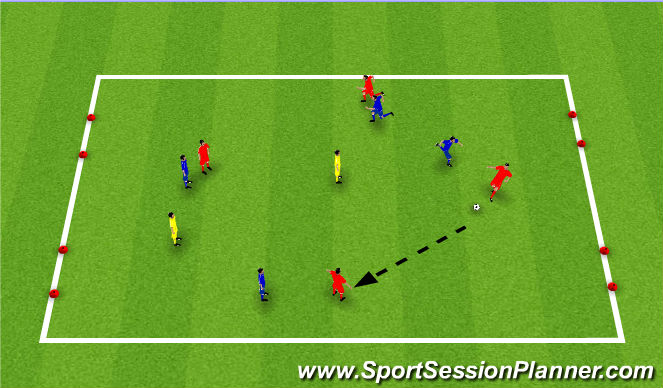 Football/Soccer Session Plan Drill (Colour): 4 Gate game with nuetrals