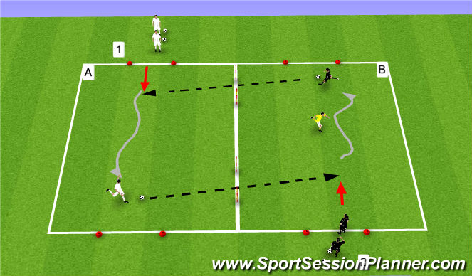 Football/Soccer Session Plan Drill (Colour): Cross Off A Dribble