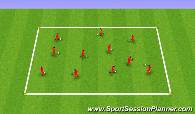 Football/Soccer Session Plan Drill (Colour): Technical ball work
