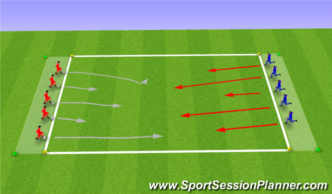 Football/Soccer Session Plan Drill (Colour): Technical defense work 1v1