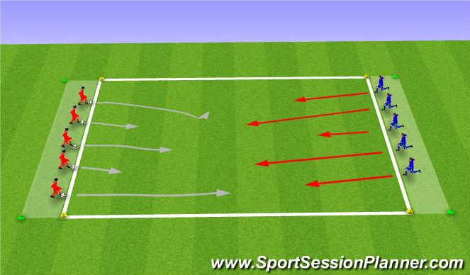 Football/Soccer Session Plan Drill (Colour): Technical defense work 1v1