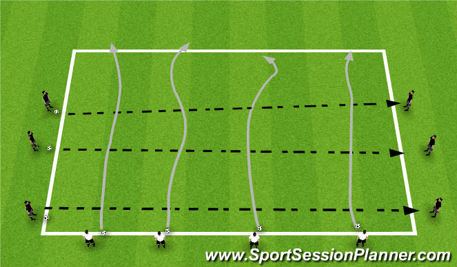 Football/Soccer Session Plan Drill (Colour): T1: Dribblers vs Passers