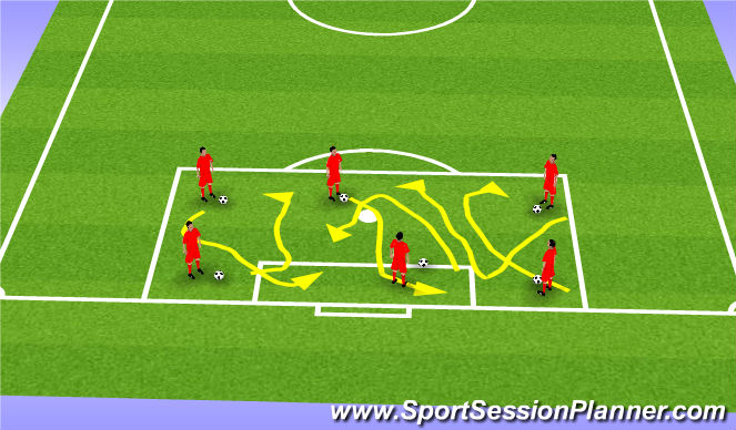 Football/Soccer Session Plan Drill (Colour): Warm up-Dribble in the Box