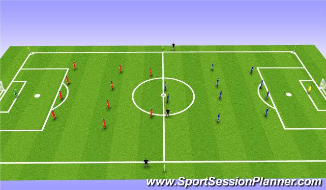 Football/Soccer Session Plan Drill (Colour): 11 v11 Game