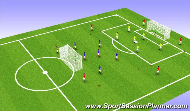 Football/Soccer Session Plan Drill (Colour): Jeu Banide 6c6 6 appuis