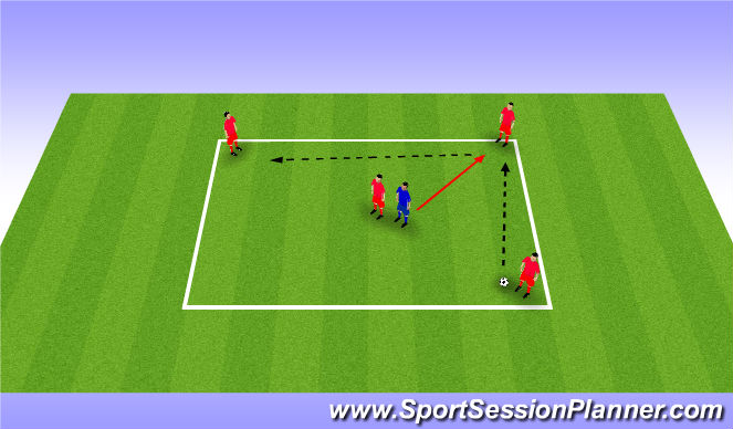 Football/Soccer Session Plan Drill (Colour): 4 v 1 (player inside)