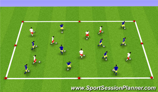 Football/Soccer Session Plan Drill (Colour): Dribbling Box